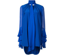 tiered sleeve neck tie blouse