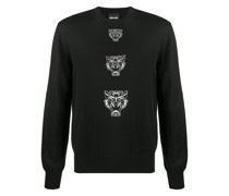 Intarsien-Pullover mit Tigern