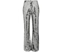 Mid-Rise Silver Sequin Embellished Flared Trousers