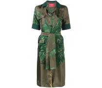 Seidenhemdkleid mit PalmenblattPrint