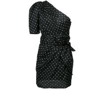 one shoulder polka dot mini dress