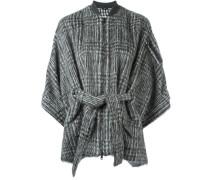 cashmere houndstooth belted jacket