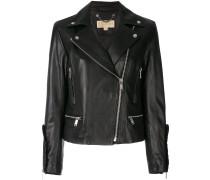 frill-trimmed biker jacket