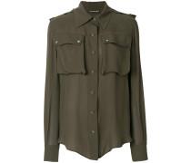 Military-Seidenhemd mit großen Taschen