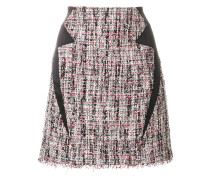 satin trim tweed skirt