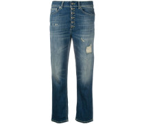 Gerippte Cropped-Jeans