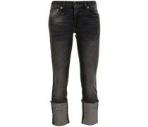 Cropped-Jeans mit offenem Saum
