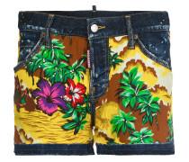 Hawaiian print denim shorts