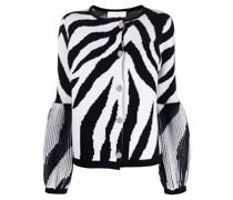 zebra stripe merino wool cardigan