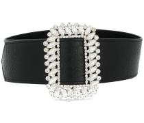 embossed crystal-buckle belt