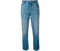 Gerade Jeans mit Ösen