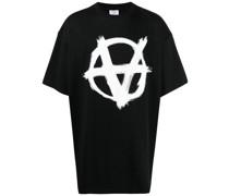 anarchy print oversized T-shirt