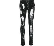 Skinny-Jeans mit Pinselstrichen