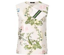 ribbon trimmed floral blouse