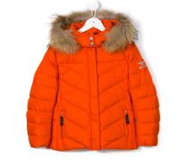 padded fur trim coat