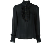 ruffled bib blouse