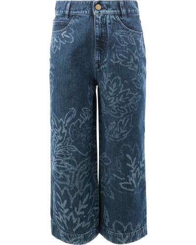 Cropped-Jeans mit Blumenmuster