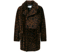 Shearling-Mantel mit Leopardenmuster