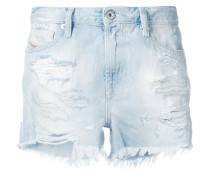 distressed patch denim shorts