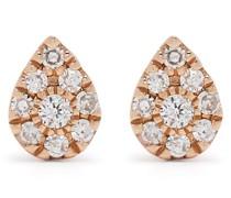 18kt Pear Rotgoldohrringe mit Diamanten