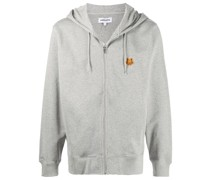 zip-up tiger patch hoodie