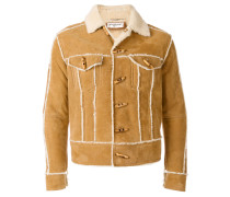 shearling-trim fitted jacket