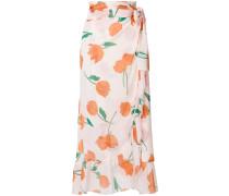 tulip print ruffle midi skirt