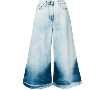washed wide-leg jeans