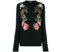 floral leopard embroidered jumper