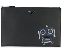 robot motif clutch bag