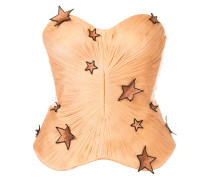 star appliqué pleated design strapless blouse