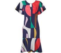 geometric print flared dress