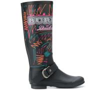 doodle print rain boots