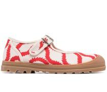 printed buckle-fastening sandals