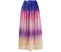 colour-block print pleated skirt