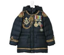 medal print padded jacket