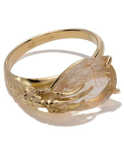 18kt 'Claw' Goldring mit Quarz