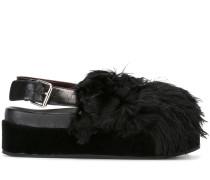 Slingback-Sandalen mit Kunstfellbesatz