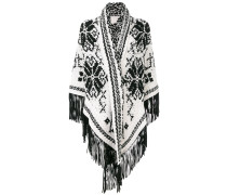 fringed shawl with embroidered print
