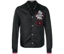 appliqué badge bomber jacket