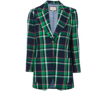 patched checked blazer