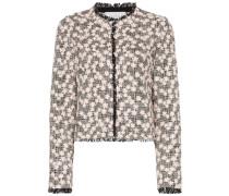 Tweed-Jacke mit Blumenstickerei