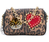 patched leopard print clutch