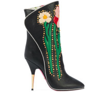 Flowers intarsia boots