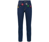 Cropped-Jeans mit Sternen