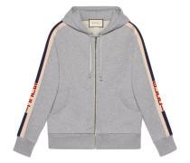 Hooded zip-up sweatshirt with  stripe