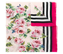 floral and stripe print scarf