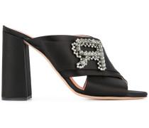 embellished strap heeled mules