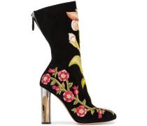 Stiefel mit floraler Stickerei