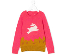 Intarsien-Pullover mit Hasenmotiv